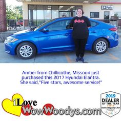 Amber is hitting the road in an electric blue Hyundai Elantra! Congratulations! 🎉 #wow #wowwoodys #woodysautomotive #cars #trucks #suvs #carsforsale #trucksforsale #suvsforsale #kansascity #chillicothe #customerreviews #customertestimonials #wowcarbuying #carshopping #happycustomers #2017hyundaielantra #2017hyundai #hyundai #elantra