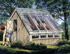 Garden#Shed/ #Greenhouse plan: 85907. Wood floor on gravel base featuring skylight windows for optimal plant growth & ample room for tool and lawn equipment storage with complete list of materials and step-by-step instructions.