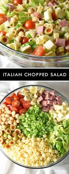 This Italian Chopped Salad is a light, yet hearty salad that tastes like your favorite Italian sub sandwich without the bread! #pastafoodrecipes