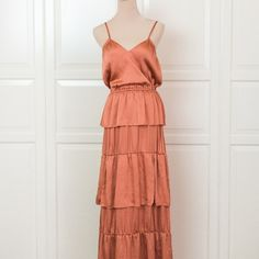 Shop Women's Orange size 4 Maxi at a discounted price at Poshmark. Burnt Orange Bridesmaid Dresses, Burnt Orange Dress, Rust Orange, Orange Color, Spaghetti, Summer Dresses, Formal, Book, Ideas
