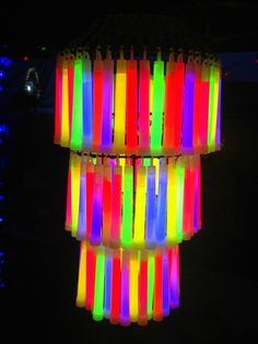 Glow stick chandelier for your grown-up rave party / How To Throw The Most Epic Dance Party Ever (via BuzzFeed)