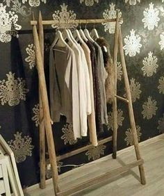 Vaaterekki heinäseipäistä Attic Bedrooms, Wardrobe Rack, Diy Home Decor, Diy And Crafts, Interior Decorating, Sweet Home, Woodworking, Inspiration, Furniture