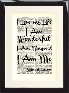 Robbie Williams Love My Life Music Gift Song Lyric Dictionary Art Print Memory