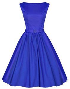 Vintage Boat Neck Solid Color Sleeveless Dress For Women Vintage Dresses | RoseGal.com Mobile