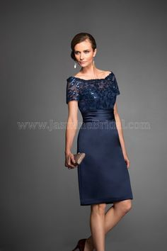 Jasmine Bridal - Jasmine Black Label Style M160064 in Floral Paillette/Marquis Satin, color Navy/Twilight