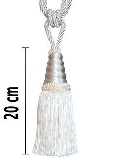 Raffhalter Quaste 22 cm mit Kordel 60 cm Perlmuttfarbe Weiß Gardinenhalter Chic