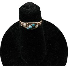 Victorian Child's Ring (or very small adult) with Glass Pearls and Turquoise Paste