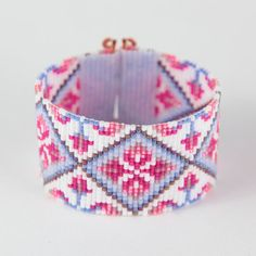 Tulip Dreams Bead Loom Bracelet Bohemian Boho Artisanal Jewelry Indian Western Beaded Tribal Southwestern Turquoise Brown Santa Fe