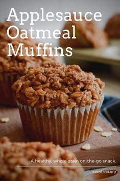 Applesauce Oatmeal Muffins, Oatmeal Breakfast Muffins, Oatmeal Cake, Apple Muffins, Yummy Treats, Delicious Desserts, Yummy Food, Sweet Treats, Oatmeal Recipes