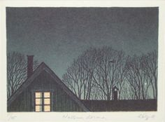 Nessum Dorma - Esa Riippa Finnish, Etching, aquatint, 13 x 9 cm, Watercolor Landscape, Watercolor Art, Country Scenes, Types Of Art, Night Photography, Tree Art, Japanese Art, Graphic Art, Art Drawings