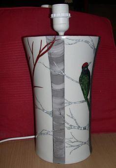Pied de lampe Limoges décor arbres hauteur sans la douille 29 cm largeur 18 cm peint à la main Tronc peinture, I relief + platine, creusé + platine Fond peinture ivoire,bran - 19697476