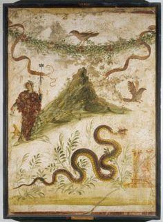 Bacchus und der Vesuv, Pompeji, Haus der Jahrhundertfeier, Wandmalerei, 68–79 n. Chr., Museo Archeologico Nazionale di Napoli.