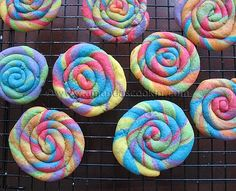 Striped Coil Rainbow Cookies (has a video that shows how to roll and coil the cookies)
