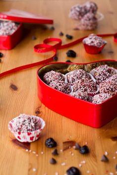 Dark Chocolate Cherry Walnut Truffles for Valentine's Day #Vegan