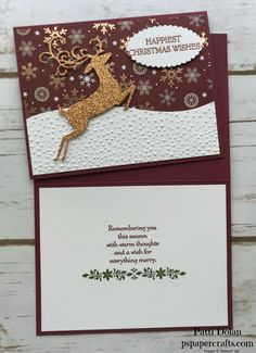 Paper Crafts by Patti Dolan - An Independent Stampin' Up! Christmas Cards 2018, Homemade Christmas Cards, Christmas Deer, Xmas Cards, Homemade Cards, Holiday Cards, Christmas Crafts, Christmas Decorations, Winter Cards