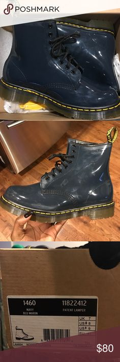 Navy Paten Dr. Martens Boots Only worn a couple of times, great condition! Dr. Martens Shoes Winter & Rain Boots