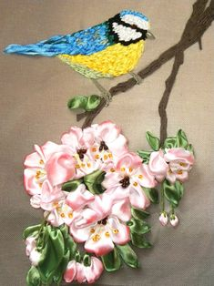 Cute little birds in ribbon embroidery. Click on the images to enlarge. Enjoy your Monday ♫♬♪♫