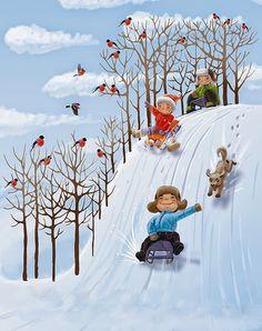 quenalbertini: 'Sleds' by Шанин Кирилл, Pinzellades al món Hello Winter, Winter Kids, Winter Art, Funny Christmas Cards, Christmas Art, Vintage Christmas, Winter Illustration, Cute Illustration, Diy Embroidery Patterns