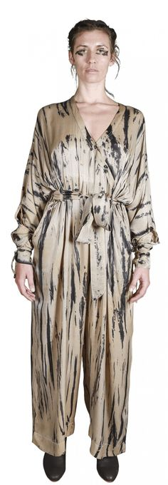 Mark Baigent - Landslide jumpsuit - unconventional Silk Jumpsuit, Batik Pattern, Size Model, Kimono Top, Collection, Fashion, Moda, La Mode, Fasion