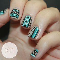Blue tribal print nails