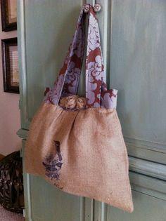 Burlap bag with burlap roses, bird graphics from the Graphics Fairy. Burlap Purse, Burlap Bags, Jute Bags, Diy Tote Bag, Reusable Tote Bags, My Bags, Purses And Bags, Burlap Roses, Burlap Crafts