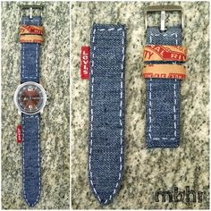 Instructible for Sew-It-Yourself fabric watch strap - here in Denim with jeans parts. This one is hand-sewn, but an edge-stitch foot on a sewing machine would make it even easier. I'm thinking batik cotton, or maybe raw silk! Jewelry Clasps, Diy Jewelry, Jewelry Making, Beaded Bracelets, Artisanats Denim, Black Denim, Jean Diy, Denim Ideas, Denim Crafts