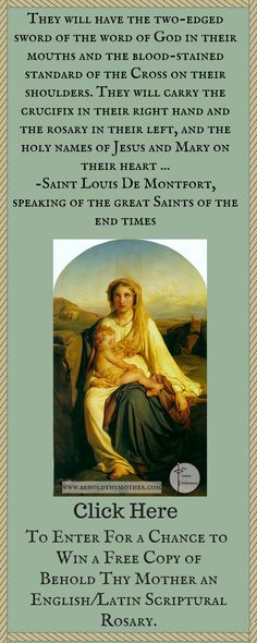 """Enter for a chance to win a free copy of the Scriptural Rosary book """"Behold Thy Mother."""""""