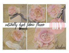 Dyed scrap fabric flower brooch tutorial.  Lovely and delicate--perfect to use in wedding decorations (scattered around a candle centerpiece on the tables would be lovely).  Wedding DIY.