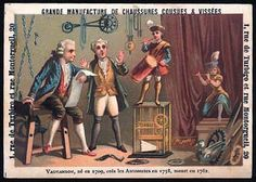 MUSICA MECANICA: Jacques de Vaucanson (1709-1782) is one of the most famous French automata makers. In 1737-38, he produced especially a transverse flute player, a pipe and tabor player, and a mechanical duck.