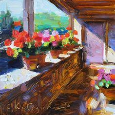 "Daily Paintworks - ""Sunlit Balcony"" - Original Fine Art for Sale - © Elena Katsyura"