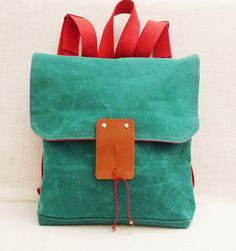 Green Waxed Canvas Backpack by Ottobags on Etsy
