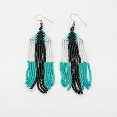 Dakota loom beaded chic Earrings, Native American long fringe earrings, White black turquoise navajo, beaded fringe earrings, boho cowgirl