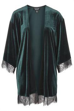 Velvet Lace Kimono Topshop
