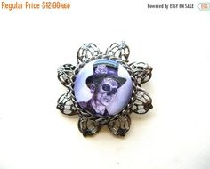 Clearance Sale Day of the Dead Brooch - Halloween Brooch - Day of the Dead Pin - Halloween Pin - Halloween Jewelry by BohemianGypsyCaravan