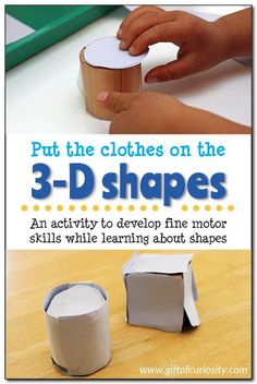 Put the clothes on the 3-D shapes: A fun activity for teaching 3-D shapes to kids through play. This activity really helps kids focus on the shapes of the sides that make up a 3-D object. #shapes #playfullearning #handsonlearning #Spielgaben || Gift of Cu