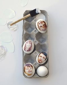 Decorating Easter Eggs With Family Portraits | Check Out Our Quick and Easy How-To Tutorial By DIY Ready. http://diyready.com/32-creative-easter-egg-decorating-ideas-anyone-can-make/