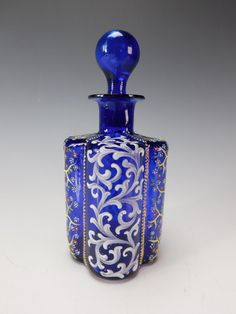 Antique Moser Cobalt Blue Enameled Lobed Glass Perfume Scent Bottle ... Blue Perfume, Antique Perfume Bottles, Patchouli Perfume, Fragrance, Cobalt Glass, Cobalt Blue, Beautiful Perfume, Ludwig, Glass Collection