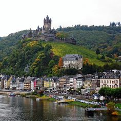 Cochem Castle from the Moselle Bridge, Reichsburg, Germany.