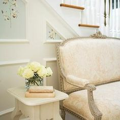 Damask Settee, French, entrance/foyer, Laura Casey Interiors