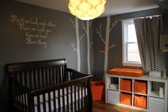 This is a super cute nursery for a baby boy. Except I would change the orange to green or a turquoise blue. :)