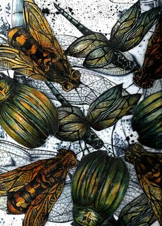 Beetle,Bees and Dragonflies by Mangle Prints, via Flickr Linocut Prints, Art Prints, Butterfly Art, Butterflies, Insect Tattoo, Beautiful Bugs, Insect Art, A Level Art, Alcohol Ink Art