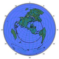 The sites: Giza, Siwa, Tassili n'Ajjer, Paratoari, Ollantaytambo, Machupicchu, Nazca, Easter Island, Aneityum Island, Preah Vihear, Sukhothai, Pyay, Khajuraho, Mohenjo Daro, Persepolis, Ur, Petra  are shown clockwise from Giza on the equal azimuthal projection. below