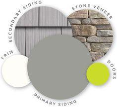 Mastic color palette high voltage quest vinyl siding cedar discovery vinyl shingle siding decorative accents trim ridgestone stone ve. Exterior Color Combinations, House Exterior Color Schemes, House Paint Exterior, Exterior Paint Colors, Exterior Siding, Gray Siding, Shingle Siding, House Siding, Shake Siding