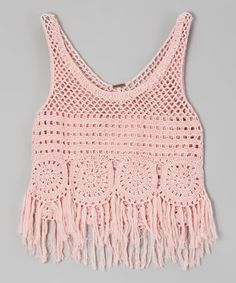 Another great find on #zulily! Crystal Rose Fringe Crocheted Tank by Poof! #zulilyfinds