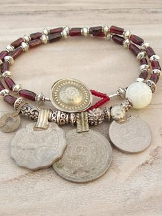Nomadic Talisman Necklace - Tribal Gypsy, Coin Jewelry, Belly Dance, Garnet and…