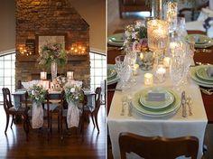 Tischdeko von Vintage Stil Great Gatsby Winter Hochzeit 2013 mit Kerzen an der Tische  Inspiration für die 20er Jahre Vintage Hochzeit