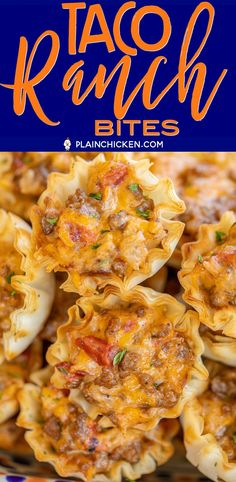 Taco Ranch Bites seriously delicious Only 6 ingredients Ground beef taco seasoning diced tomatoes and green chiles cheddar cheese ranch dressing and phyllo tart shells C. Make Ahead Appetizers, Finger Food Appetizers, Yummy Appetizers, Appetizers For Party, Appetizer Recipes, Mexican Appetizers, Chicken Appetizers, Tailgate Food, Football Tailgate
