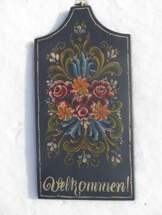 Norwegian Velkommen Rosemaling in Valdres Style by Folkartbycathy, $75.00