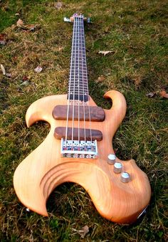 Dizzy Strings five string bass with intriguing curved shape golden blond wood body and dark wood for pickup support. #DdO:) - https://www.pinterest.com/DianaDeeOsborne/basses-of-life/ - BASSes Of LIFE. Pinned via Urban Action.