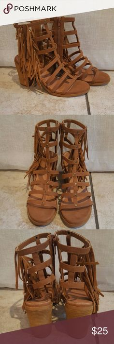 NEW brown strappy sandals New worn, super stylish, they zip on the inside. Decorative ruffle on the outside. Mari A Shoes Sandals